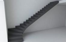 Гладкоподшитая монолитная лестница
