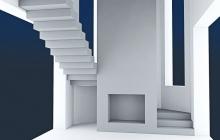 Бетонная лестница с камином