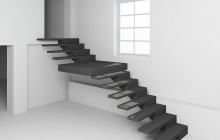 Лестница из бетона с боковым косоуром