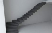Двухкаркасная лестница из бетона