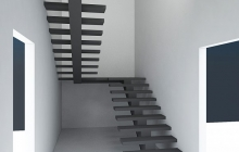 Маршевая лестница на центральном косоуре