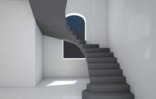 бетонная лестница с окном
