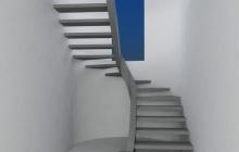 Парящая лестница на боковом косоуре