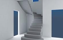 Лестница из бетона с поворотом на 180 гардусов