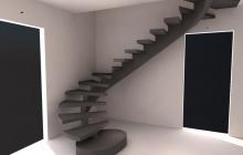 Криволинейная бетонная лестница на центральном косоуре