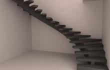 Монолитная лестница из бетона на косоуре