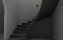 Монолитная гладкоподшитая лестница из бетона